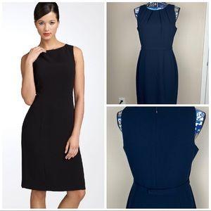 Tahari Classic Dress Black Sleeveless Pencil Crew